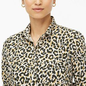J Crew Leopard Perfect Fit Shirt Button-Up sz 0